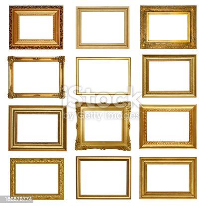 Set 6 Of Antique Gold Frames Stock Photo & More Pictures of Antique ...
