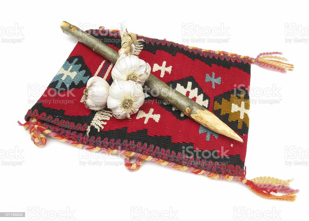 Set against vampires: Serbian bag, hawthorn picket and garlick royalty-free stock photo