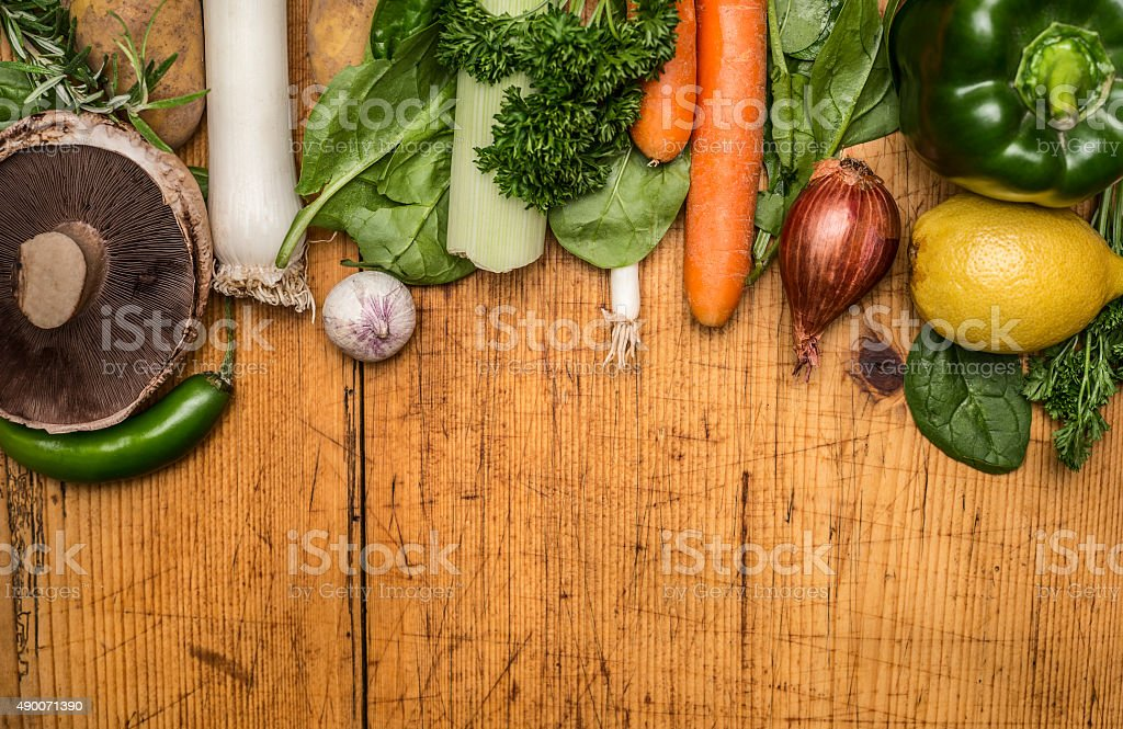 set autumn vegetables, wooden rustic background top view close up stock photo