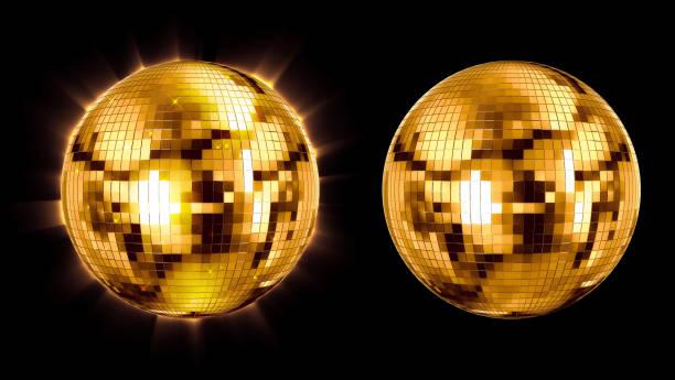 set ball disco gold mirror discoball golden glitter white concept on a black background. 3d render stock photo
