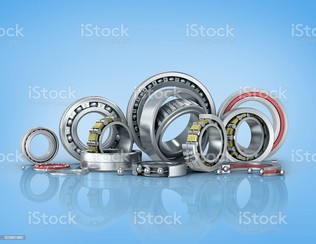 Set bearing on a blue background. stock photo