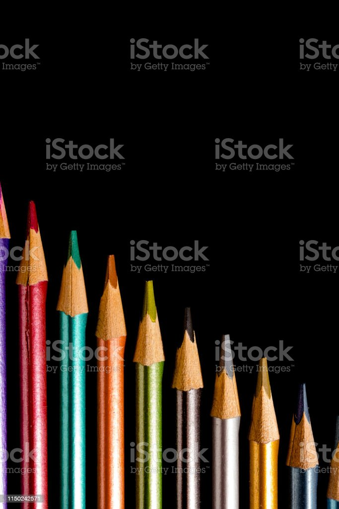 Set beautiful black, colored pencils of colored pencils on black...