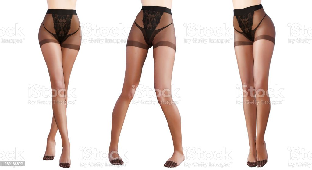 Set beautiful female legs black transparent tights. stock photo