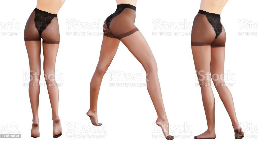 Set beautiful female legs black transparent tights. - Photo