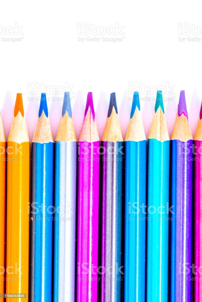 Set beautiful white , colored pencils of colored pencils on white...
