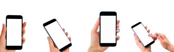 Set Beautiful Woman Hände halten das Smartphone mit isolierten weißen Bildschirm. Business-Arbeitsplatz mit Kopierbereich. Leerer Platz für Text. Isolierter Bildschirm zum Mock-up. Linke und rechte Hand – Foto