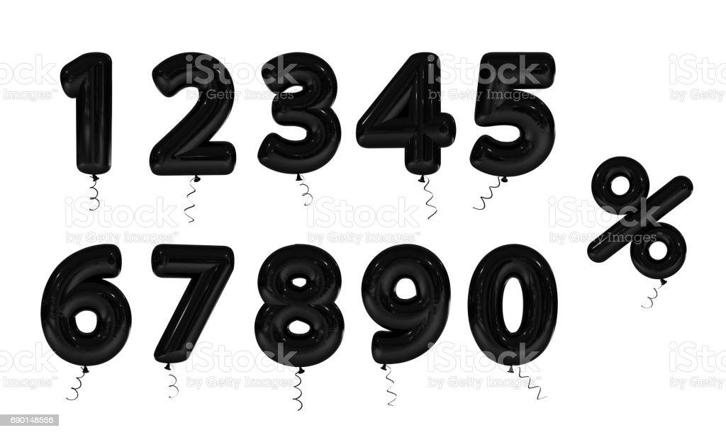 Set Black inflatable digit. 3d render stock photo