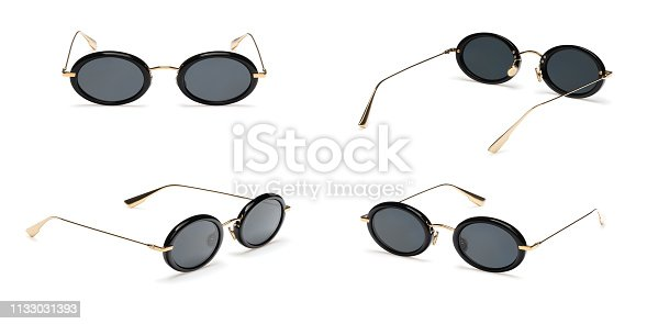 Set Black Retro sunglasses in oval frame isolated on white background. Collection fashion Vintage summer sunglasses.