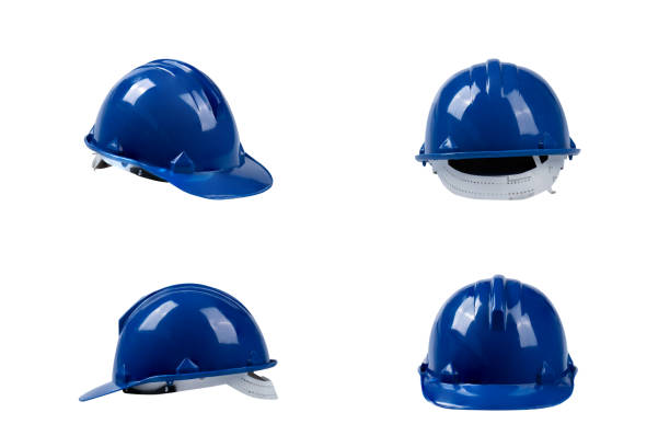 set blue deferential helmet, construction tools for industrial safety isolated on white background set blue deferential helmet, construction tools for industrial safety isolated on white background deferential stock pictures, royalty-free photos & images