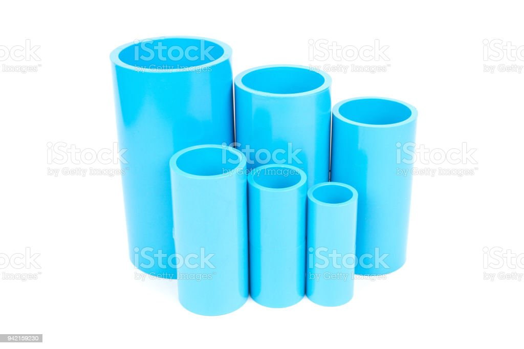 Set Blue Pvc Pipe Fittings Joint Stock Photo - Download Image Now