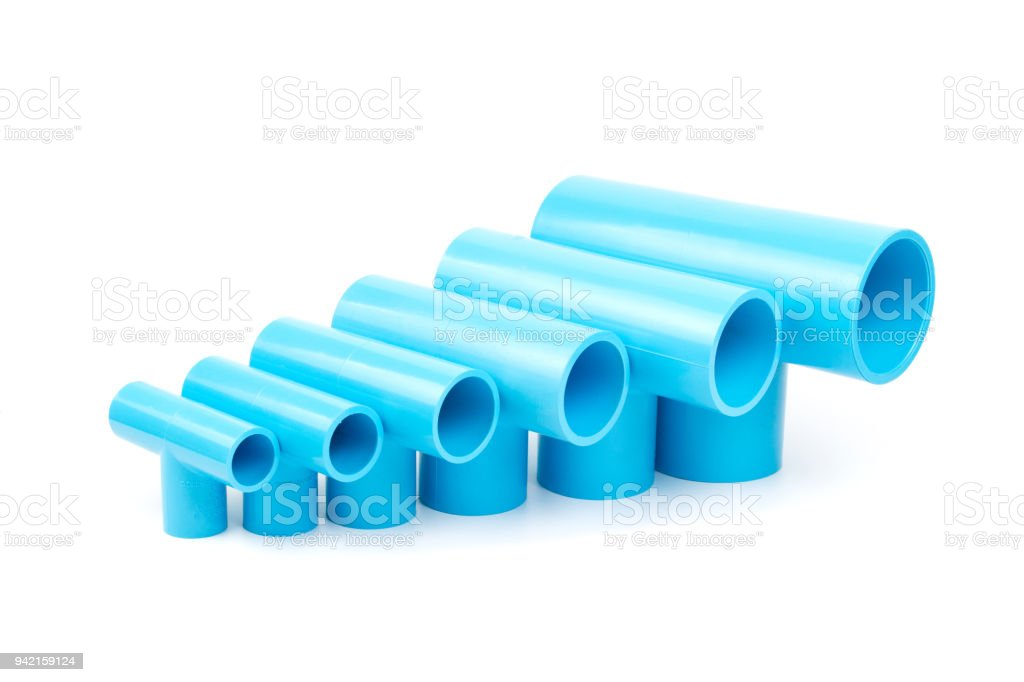 Set Blue Pvc Pipe Fittings Three Way Joint Stock Photo - Download