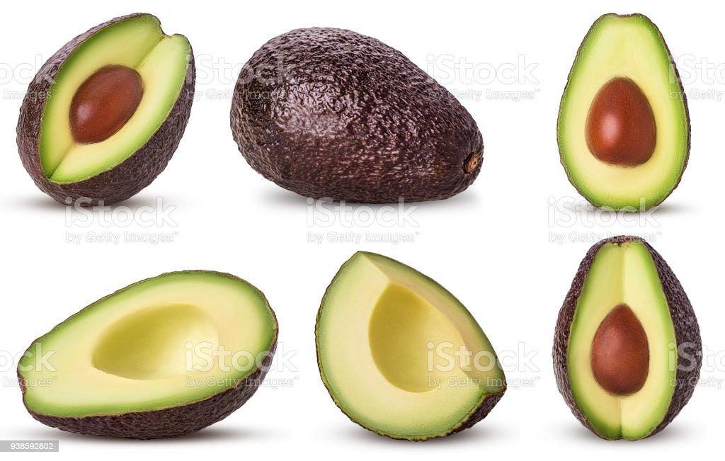 Set brown mature avocado whole, three quarters with bone, cut in half, slice stock photo