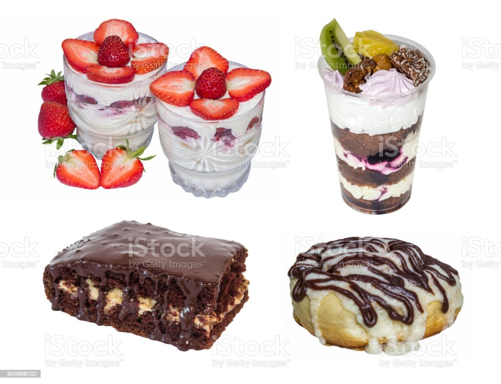 set cake: trifle, cheesecake dessert, chocolate cake, cinnamon roll, isolated on white background stock photo