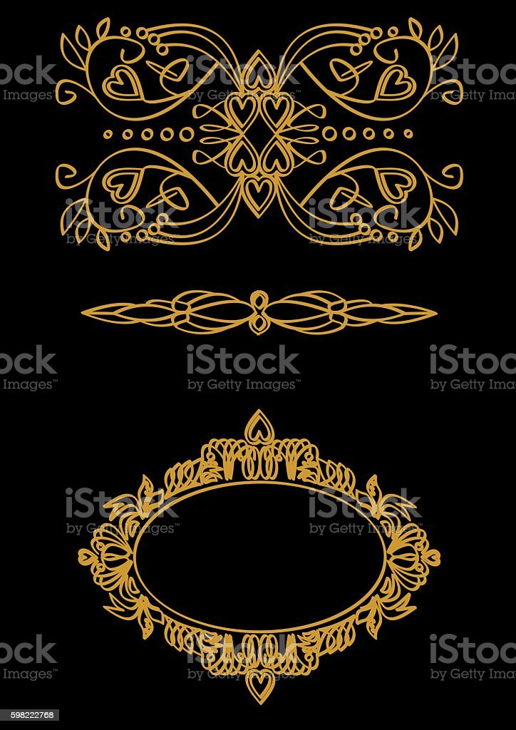 Set calligraphic themes in gold on a black background stock photo