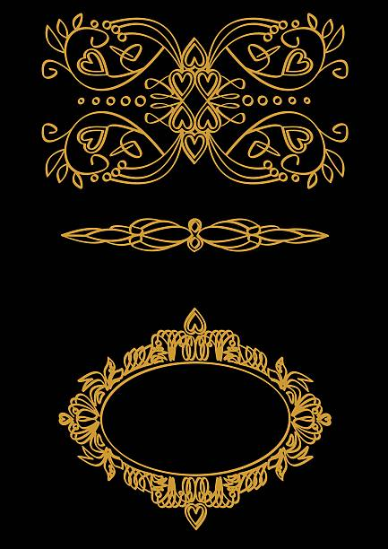 Set calligraphic themes in gold on a black background - foto de stock