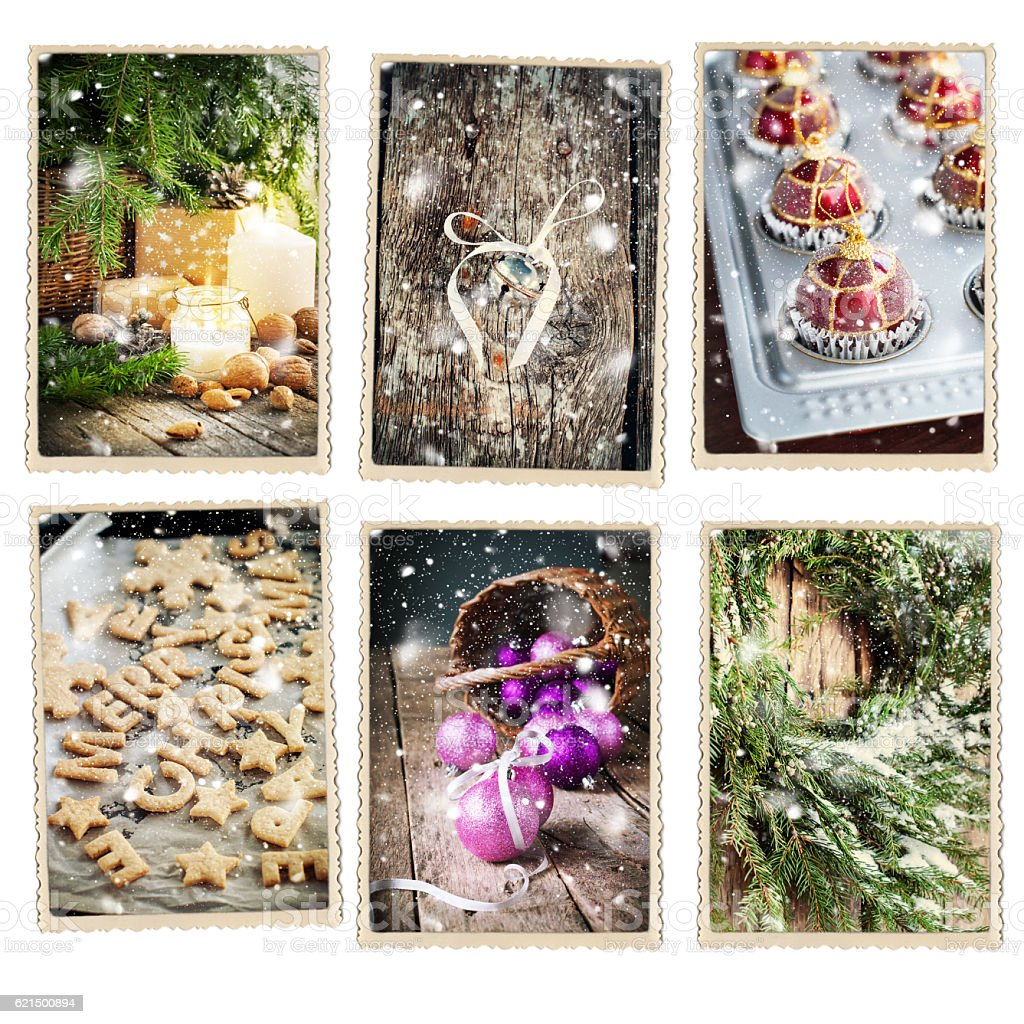 Set Christmas Card Snow Retro Photo Frame Isolated photo libre de droits