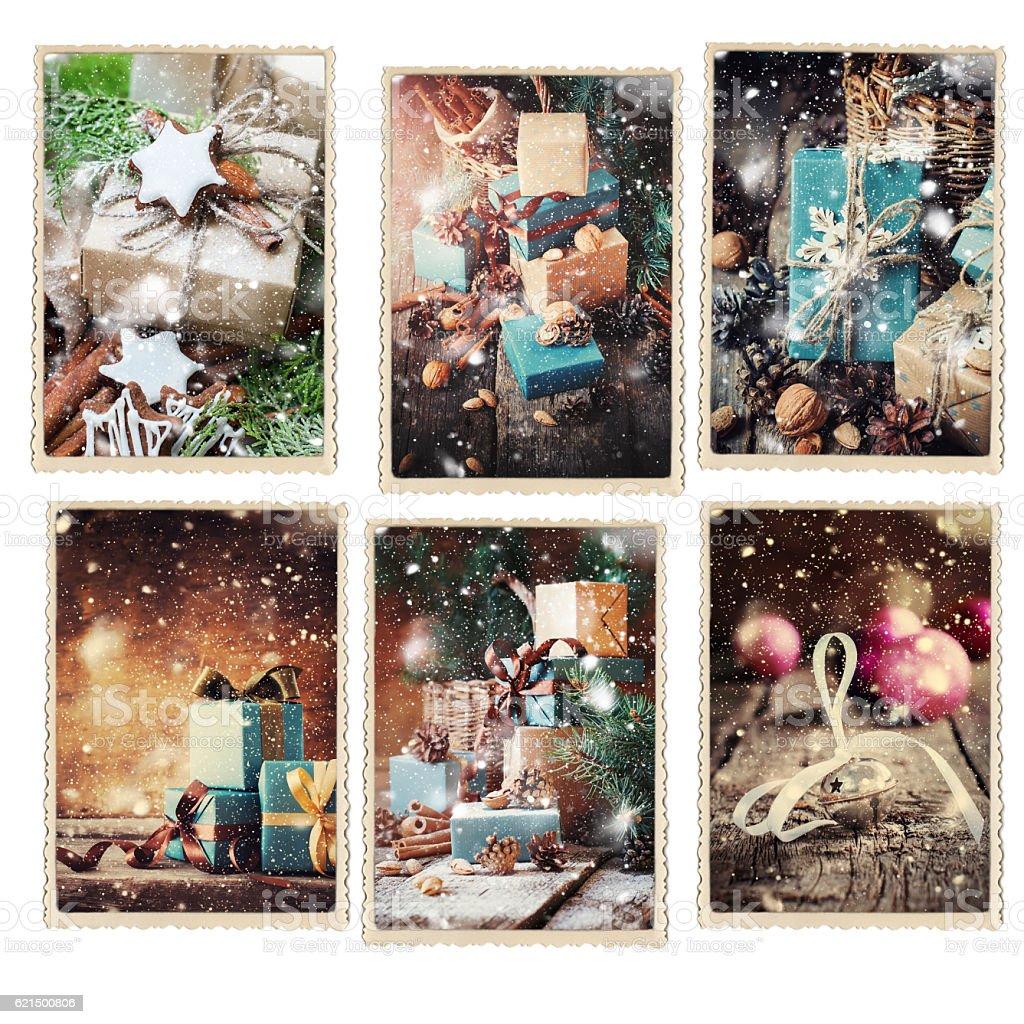 Set Christmas Different Cards Drawn Snowfall Lizenzfreies stock-foto