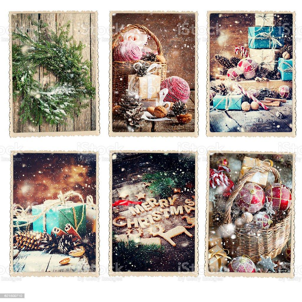 Set Christmas Different Cards Retro Photo Frame Lizenzfreies stock-foto