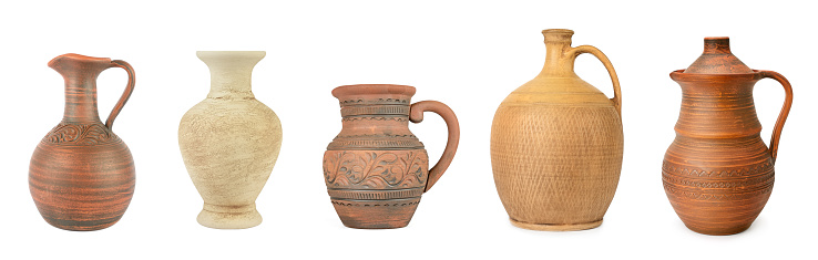 Set clay and ceramic jugs isolated on white background