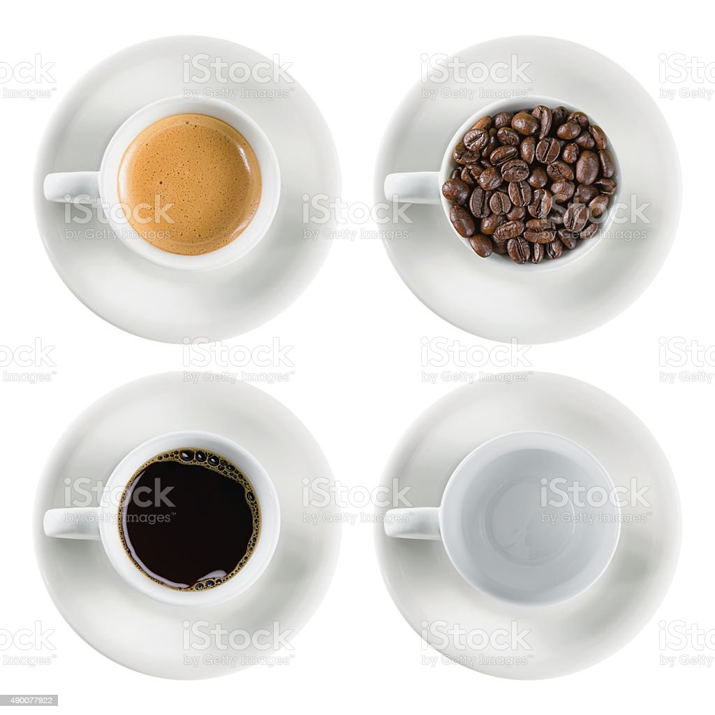 set coffee cup isolated stock photo
