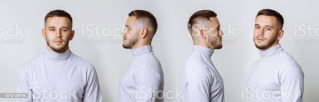 Set collage handsome young man in white turtleneck standing on grey background. Different angle view of a young handsome man face. stock photo