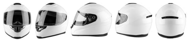 set collection of white motorcycle carbon integral crash helmet isolated white background. motorsport car kart racing transportation safety concept - helmet motorbike imagens e fotografias de stock
