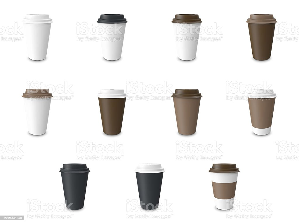 Set, collection white paper Cup with label and without  isolated vector art illustration