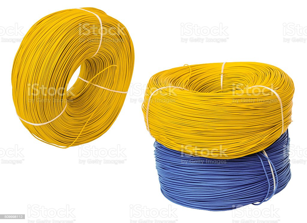 set colored electric cable, isolated stock photo