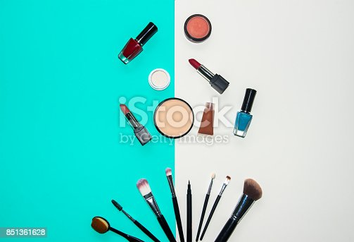 istock Set cosmetics makeup, brush, eye shadow and lipstick, colourful background.  Lifestyle Concept 851361628