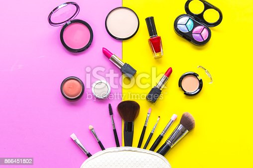 istock Set cosmetics makeup, brush, eye shadow and lipstick, colourful background.  Lifestyle Concept 866451802