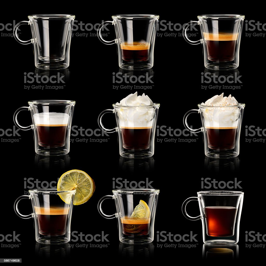 Set cups of coffee stock photo