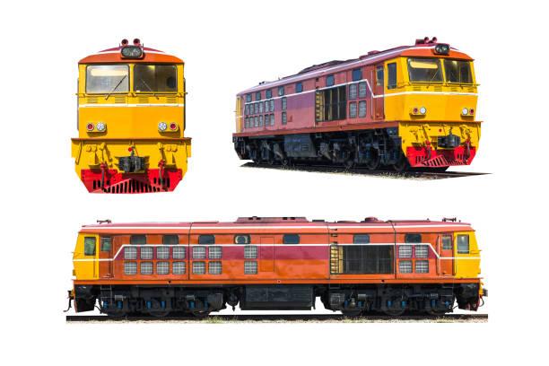 eingestellte diesel-elektrische lokomotive isoliert auf weißem hintergrund. - lokomotive stock-fotos und bilder