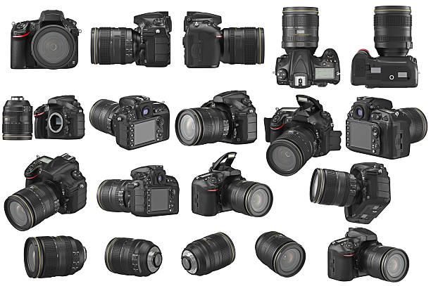 set digital photo camera - spiegelreflexcamera stockfoto's en -beelden