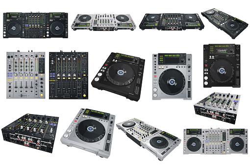 Set Dj musical equipment mix. 3D graphic