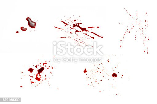 172646637 istock photo Set drops of blood that drip and scatter on a white background. 670468332
