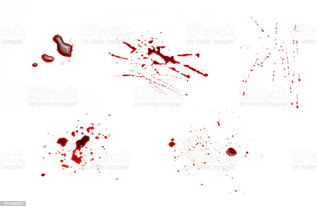 Set drops of blood that drip and scatter on a white background. stock photo