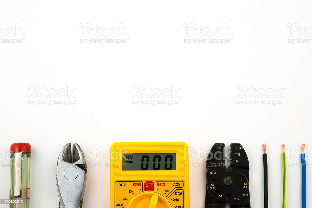 set electrician tools stock photo