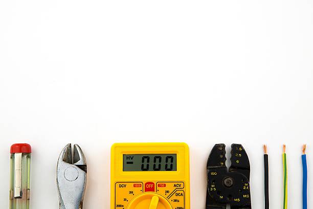 set electrician tools stock photo