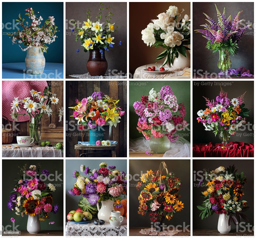 Set for a calendar of twelve still lifes with flowers. stock photo