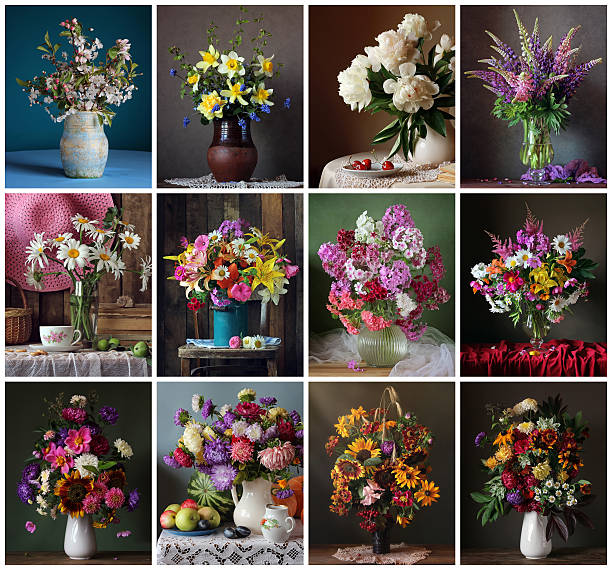 set for a calendar of twelve still lifes with flowers. - nature morte photos et images de collection