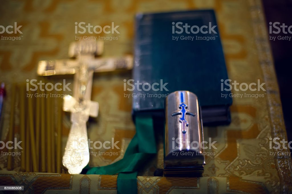 set for baptism of a child in the church stock photo