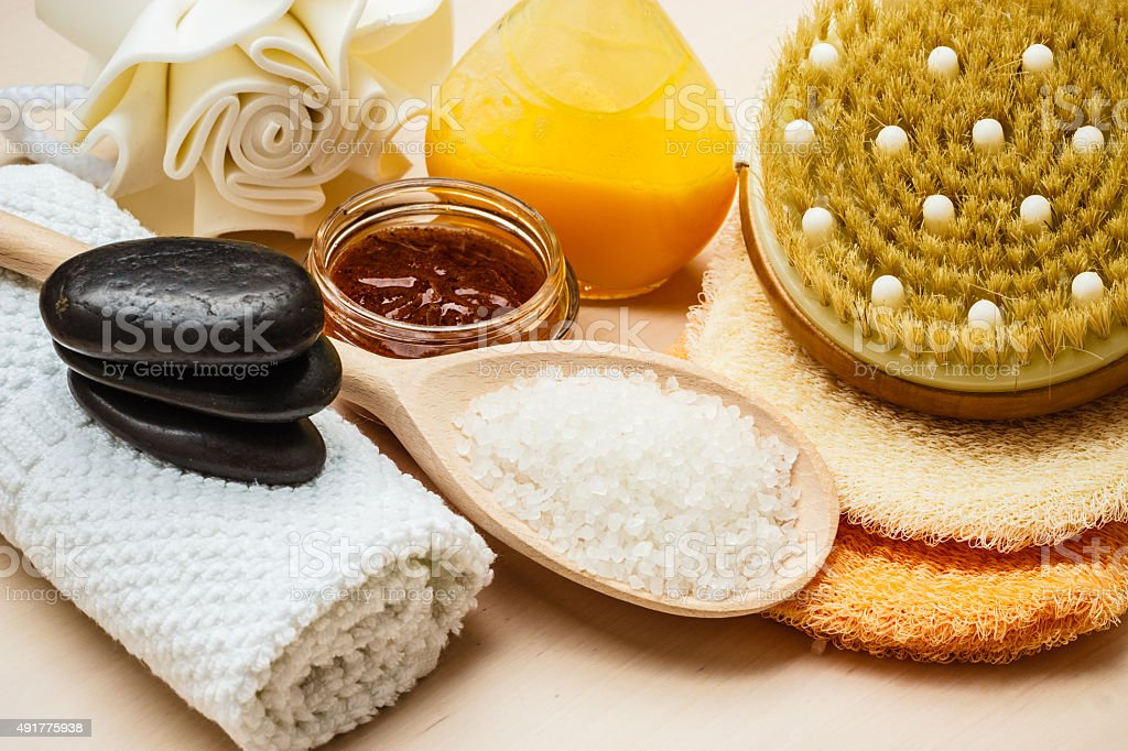 Set for care of skin body, bath accessories stock photo