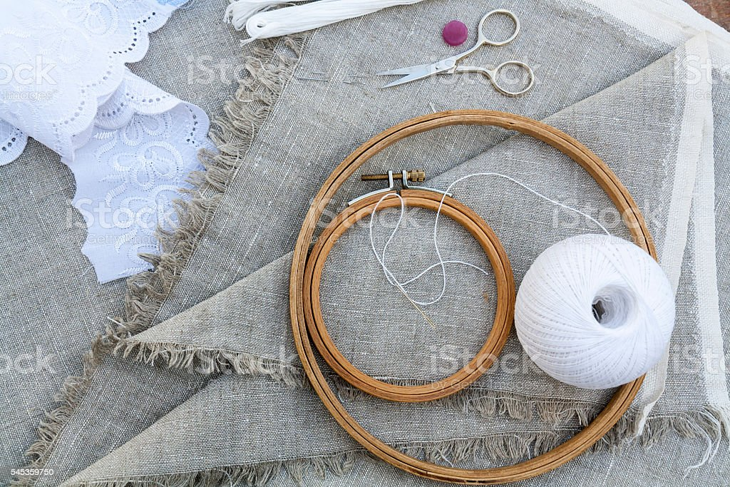 Set for embroidery, garment needle, thread, scissors and embroid stock photo