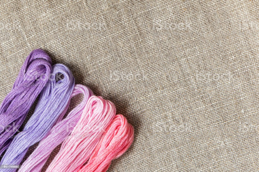 Set for embroidery with thread violet color stock photo