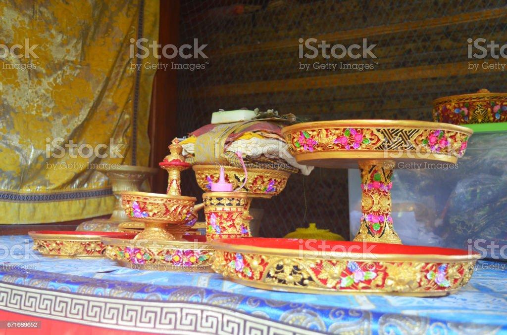 set for family Hindu ceremony stock photo