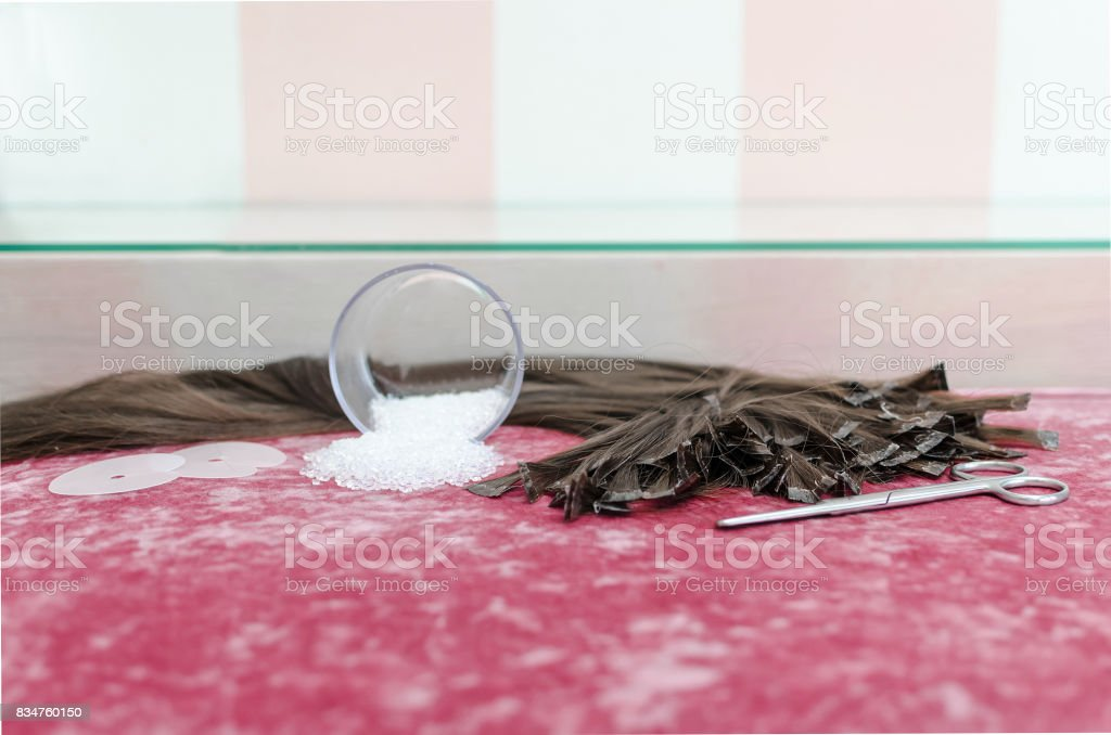 Set for hair extension stock photo