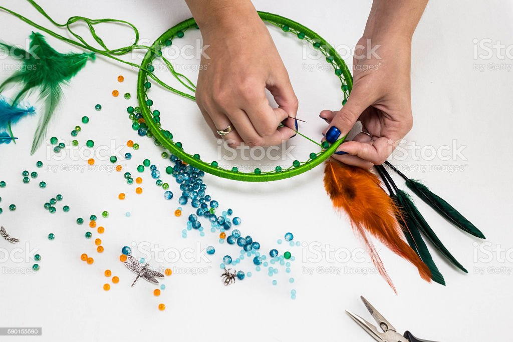 set for making a Dreamcatcher, beads, thread stock photo