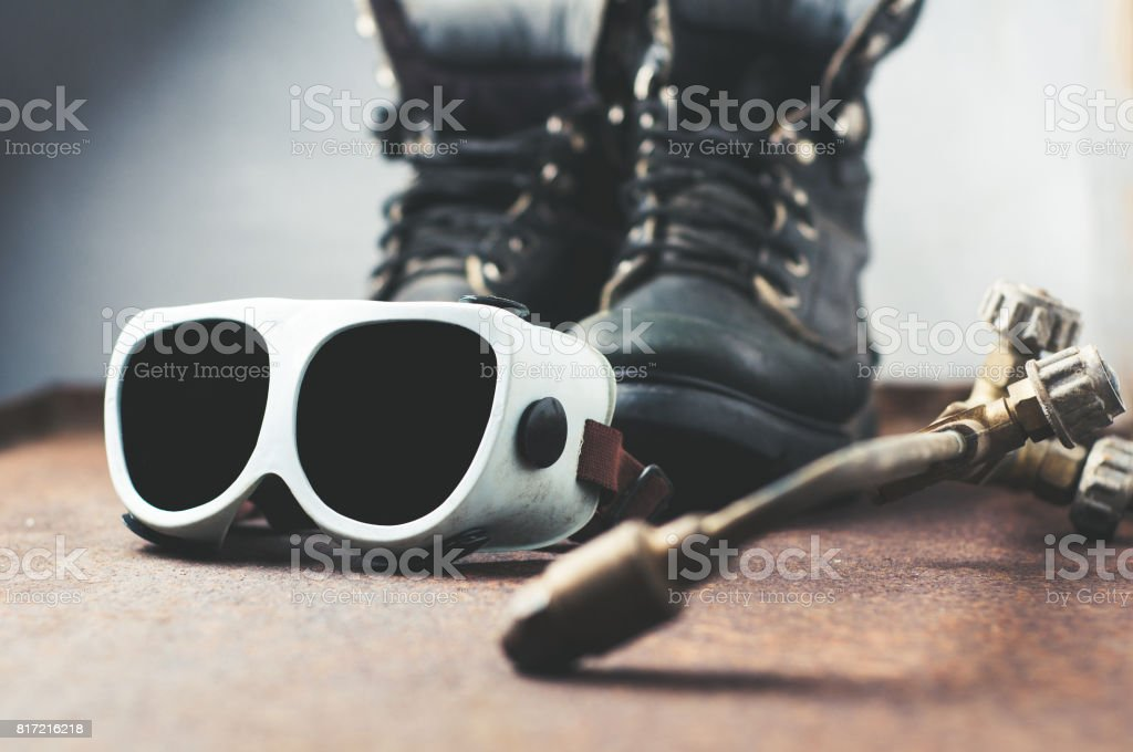 Set for the welder. Concept of work or professional activity stock photo