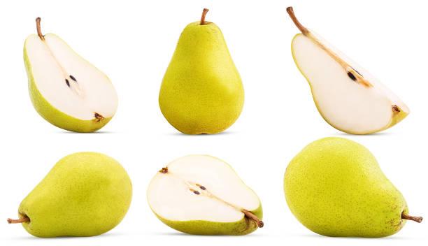 set fresh pears whole, cut in half, quarter - pera foto e immagini stock