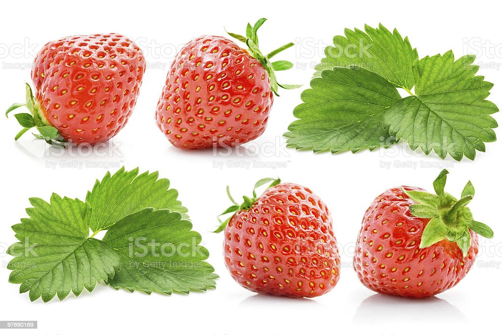 set fresh red strawberry with green leaves royalty-free stock photo